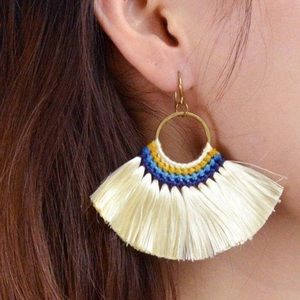 Bohemian Fringe Drop Earrings - Beige